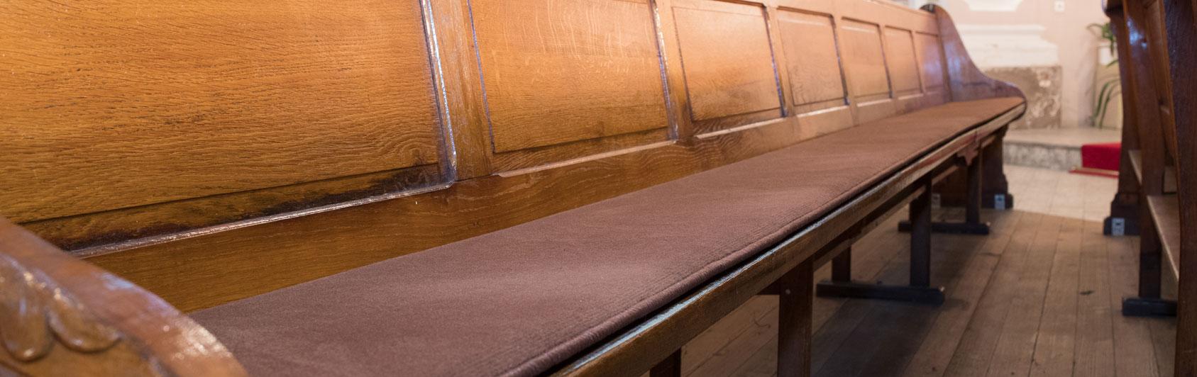 banc d'église coussin Sitzplush code couleur 127 couleur brun rougeâtre Creutzwald